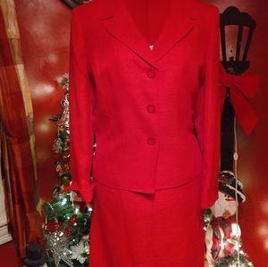 Le Suit Red Skirt Suit